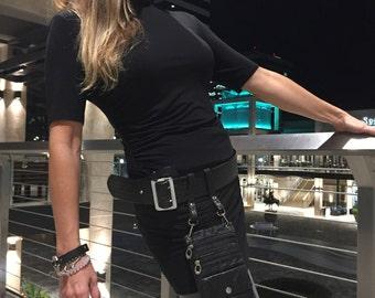 Superhero Utility Belt upcycled black leather pouch