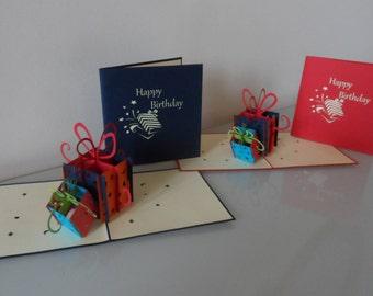 Happy Birthday Presents Gift  Boxes Pop up Card Birthday (sku 037)