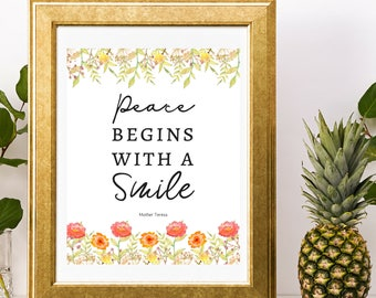 Mother Teresa Quote Peace Begins With A Smile Catholic Saint Quotes
