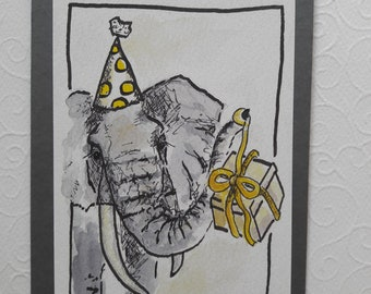 Hand Drawn Greeting card elephant