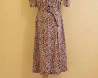 1940's pretty floral paisley house dress