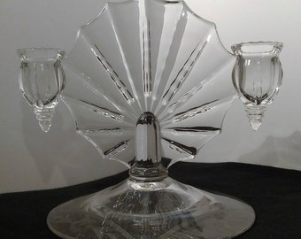 Art Deco Heavy Glass (Crystal?) Hand Etched Double Taper Candleholder