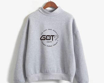 Got7 Sweatshirt K-Pop Hoodie Long Sleeve Korean Hooded Sweater Bright Sweatshirt Harajuku Vintage Oversized Sweatshirt EXO BTS