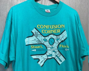 XL vintage 90s Confusion Corner Stuart Florida tourist t shirt