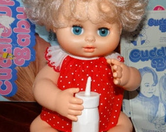 Vintage 1979 Kenner Cuddle Up Baby Soft Curly Blonde Hair Blue Eyes Comes With ALL ORIGINAL Box Instructions Bottle Outfit