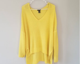 Yellow High - Low Knit Sweater