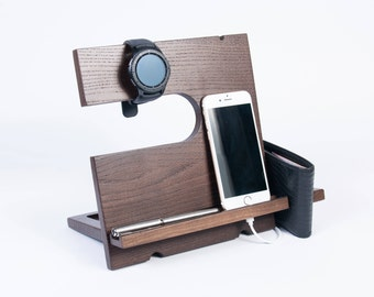 Wooden Organizer for gadget and accessories Wood iPhone station iPhone dock station Home organaizer for gadget Rof him Mens gift