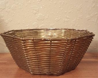 Vintage brass wire basket.  Vintage brass octagonal woven basket.  Boho basket.
