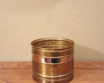 "Medium vintage 7.5"" brass planter with stainless stripe.  Lightweight weathered vintage planter."
