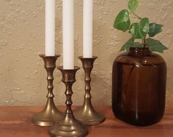 Set of 3 vintage brass miniature candlesticks.  Retro candlesticks, Tiny candlesticks