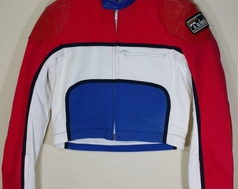 Rare Takai Woman Racer Jacket 1982 One Piece Top Leather / Cotton Motorcycle Racing Suit jacket Red White Blue Size L