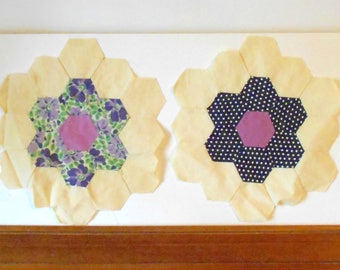 Vintage Quilting Squares/Flower Garden Hexies/Old Quilting Fabric - Set of 8