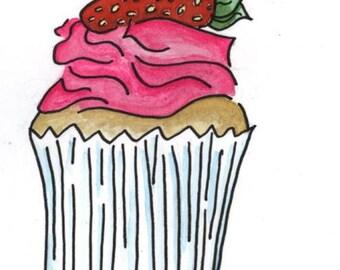 Blank Birthday Card with Strawberry Cupcake