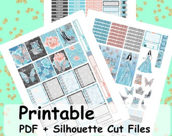 Snow Queen Printable Planner Stickers, Weekly Kit, Weekly Planner Stickers, Printable Weekly Kit, Christmas, Winter Weekly Kit,