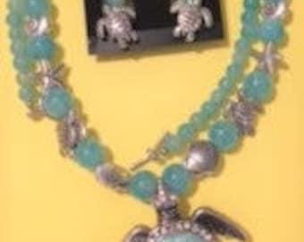 Sea Turtle Necklece and Earrings