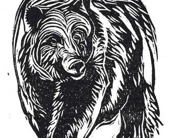 Grizzly  - linocut print