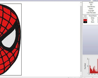 Marvel's Spiderman Face Embroidery Design
