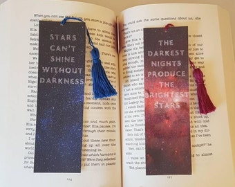 Set of two laminated bookmarks with tassels. Quotes about Darkness and Stars. Bookmark quotes.
