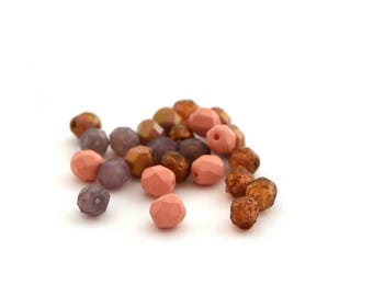Mix of purple, pink and Brown 6mm faceted Czech glass 25 beads