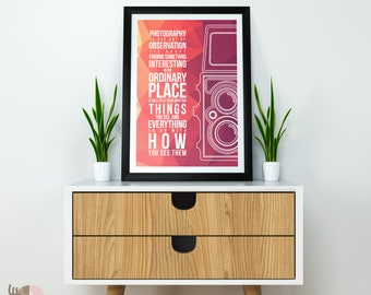 Video Camera Vintage Old Fashioned Quote Art Print Wall Art A4