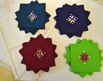 Hand-Embroidered Coasters
