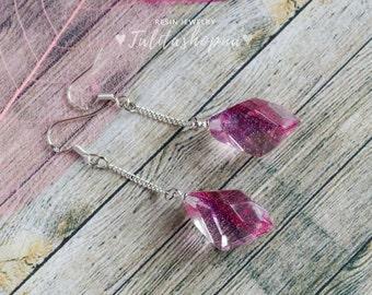 Purple, fuschia real plants free form resin chain earrings, Lightweight dangle drop earrings, Organic eco friendly jewelry, Gift for women