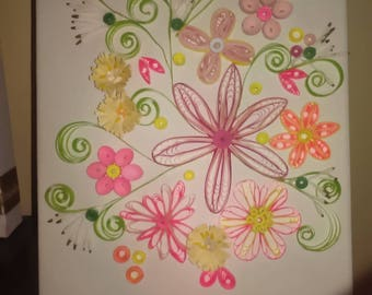 child creation quilling, room decoration, arasbesque flowers quilling, wall decor, living room, entrance, 100% cotton canvas