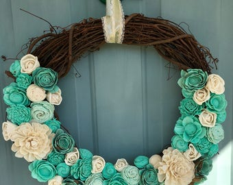 """18"""" Sola Wood Caribbean Dyed Wreath"""