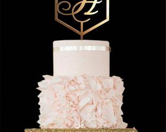Wedding cake topper wood Gold Monogram Cake Topper Letter H Cake Toppers H letter Initial silver Cake Topper letter Custom Cake Topper gold