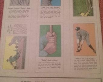 Vintage George Herman (Babe) Ruth Fro-Joy Ice Cream Baseball Cards