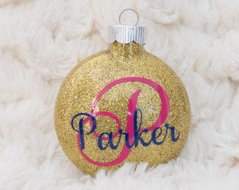 Personalized Name Ornament / Glitter Ornament / Initial Ornament / Personalized Christmas Ornament /  Christmas Gift / Kid Ornament / Family