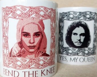 Game of Thrones Gift Game of Thrones Mug Set Thrones Anniversary Gift Thrones Wedding Daenerys Mug Jon Snow Mug GOT gift Bend the Knee