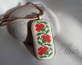 Ukrainian jewelry Hand embroidery necklace Cross stitch pendant Gift for her Flower wife necklace Eco pendant Unusual present Floral pendant