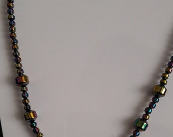 Necklace Haematite Rainbow Barrels Rounds Silver Plated T bar Clasp  16 inch Long