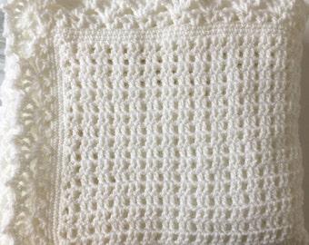 Handmade White Crochet Blanket/Shawl/Baby Gift/Crib Blanket