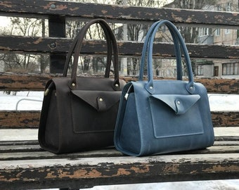 Leather handbag/brown leather bag/leather bag woman/personalized color/handmade leather bag/gift for her/everyday bag/style bag/designer bag