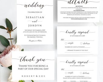 Invitation Set, Wedding Invitation, Diy Wedding Invite, Printable Invitation, Invitation Suite, Wedding Stationery, Editable Invitation, Pdf