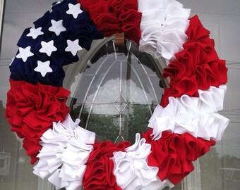 4th of July American Flag Wreath