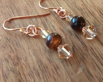 Cappuccino Agate Drop Earrings, Swarovski Crystal, Rose Gold Plated 925 Sterling Silver Shepherd Hooks, Agate Jewellery, Rose Gold Earrings