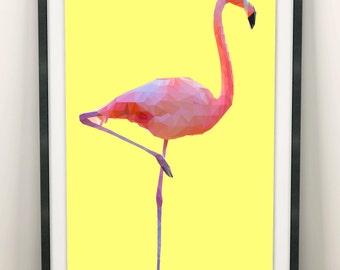 Flamingo Print (Limited Edition of 100) - A3 Flamingo Poster Vintage Retro Flamingo Decor Yellow Original Art Flamingo Wall Art Set Gift
