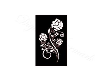 Flower Stencil SVG & Studio 3 Cut File Stencils for Silhouette Cricut Brother Files Cutouts Svgs Template Stained Glass Pattern Flowers