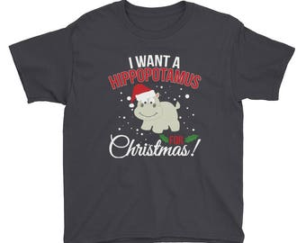 Christmas Tshirt - I Want A Hippopotamus For Christmas - Funny Christmas Shirt for Kids - Christmas Gifts for Kids - Youth T-Shirt