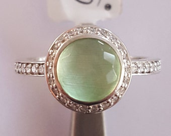Noble Ti sento silver ring with green stone and cubic zirconia