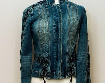 Incredible Vintage Armani Exchange   Denim Jacket tie detail through out. Zipper closure