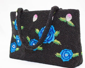 ERMO Beaded Purse with Embroidered Flowers
