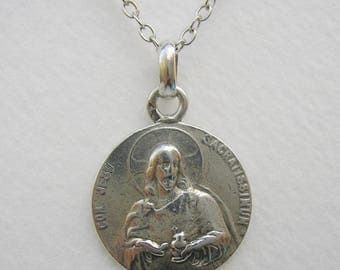 French Sterling Silver Religious Medal of Sacred Heart of Jesus / Antique Pendant
