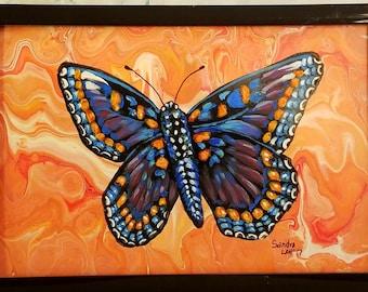 Black Butterfly on Orange