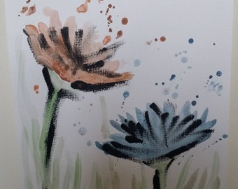 A4 Watercolour Flowers