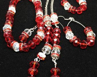 Red Crystal Necklace Earrings bracelet set