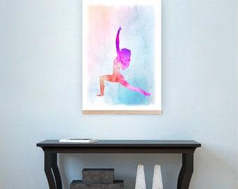 Yoga inspiration art, Watercolor yoga art, Yoga warrior I pose, Warrior I pose art, Meditation wall decor, Meditation home decor,